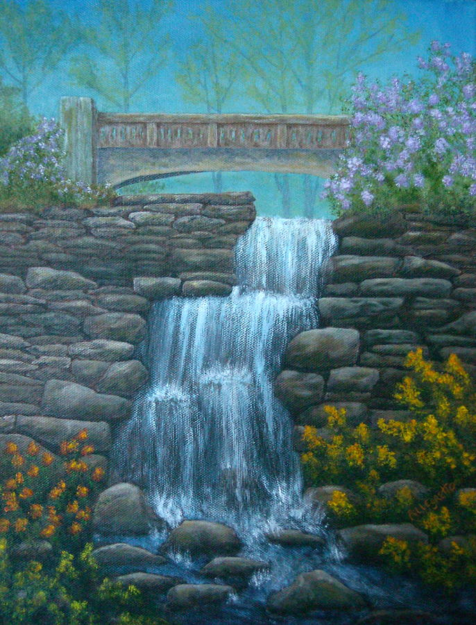 New England Painting - New England Waterfall by Pamela Allegretto