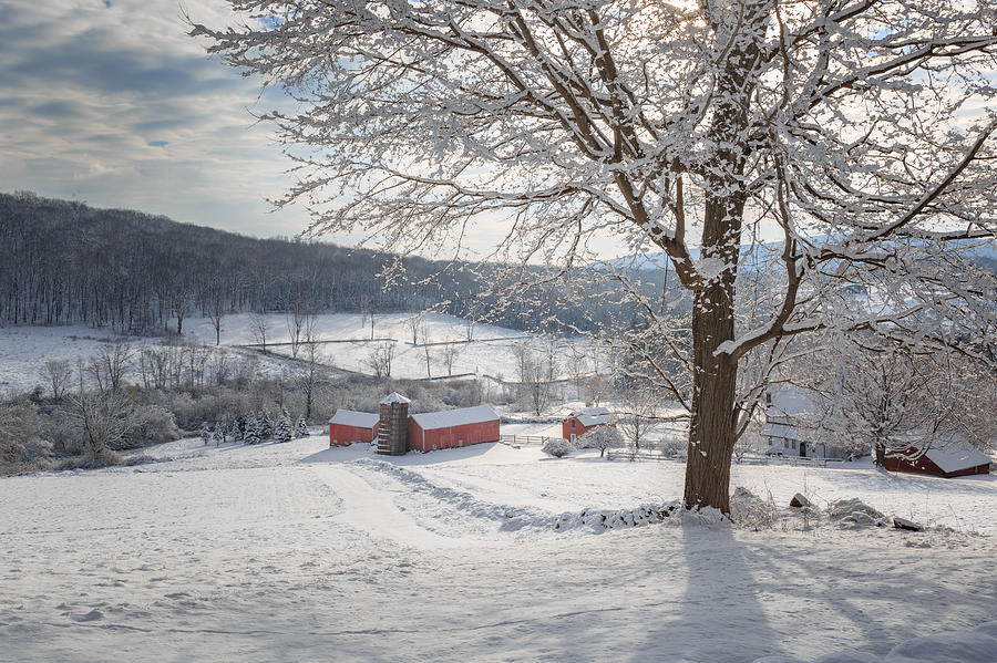 Barns Photograph - New England Winter Farms Morning by Bill Wakeley