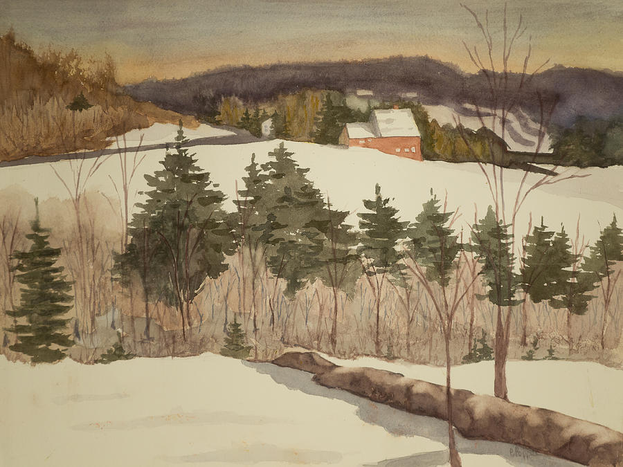 Watercolor Painting - New England Winter by Peggy Poppe