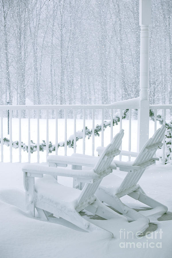 Snow Photograph - New England Winter Porch by Diane Diederich