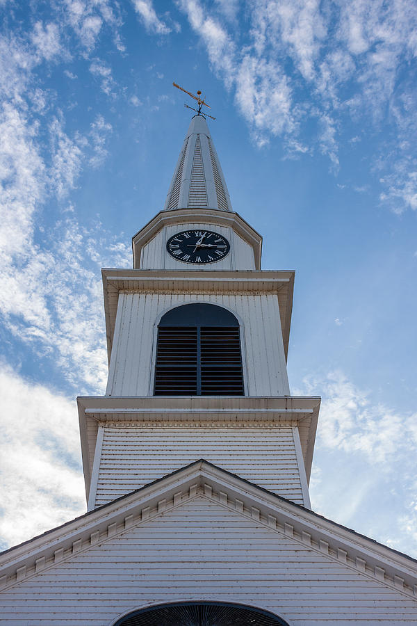 Photo Photograph - New Hampshire Steeple Detailed View by Karen Stephenson