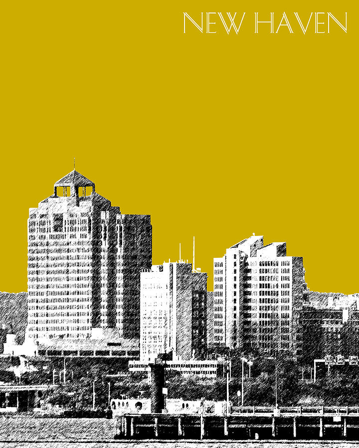 Architecture Digital Art - New Haven Skyline - Gold by DB Artist
