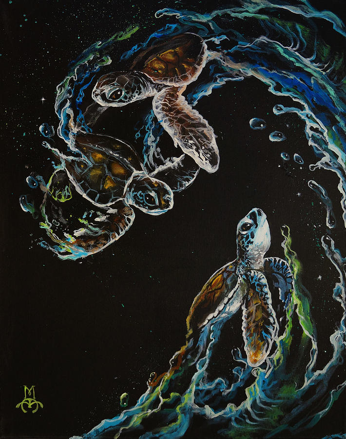 Turtle Painting - New Hope by Marco Antonio Aguilar