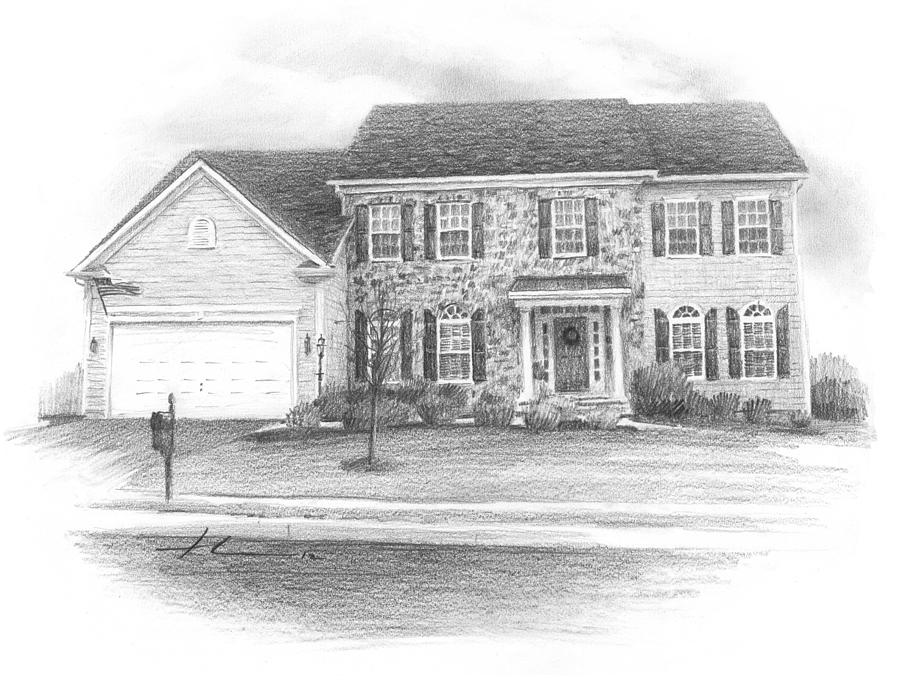 New House Pencil Portrait Drawing by Mike Theuer
