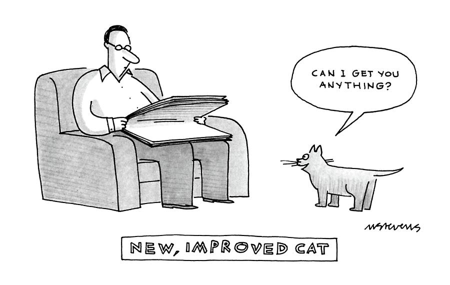 New, Improved Cat can I Get You Anything? Drawing by Mick Stevens