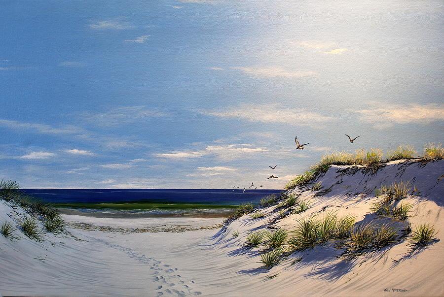 Dune Painting - New Jersey Dune Walk by Ken Ahlering