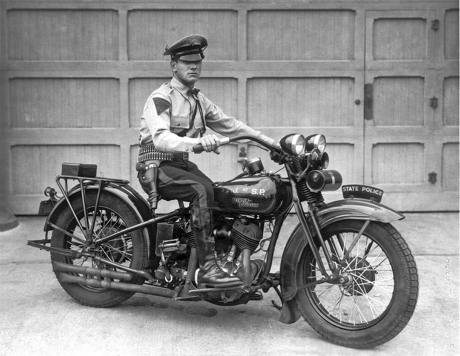 1930 Photograph - New Jersey Motorcycle Trooper by Underwood Archives