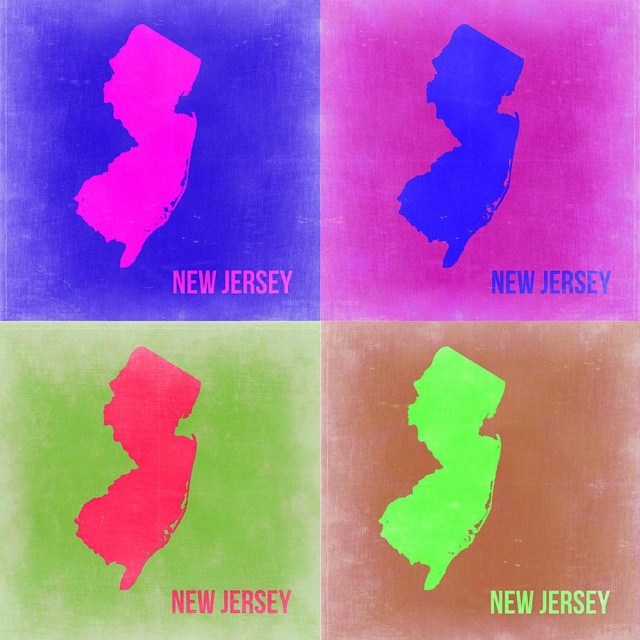 New Jersey Map Painting - New Jersey Pop Art Map 2 by Naxart Studio