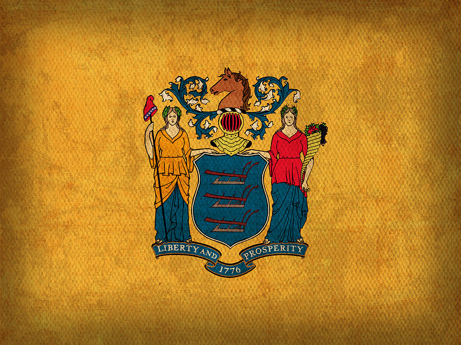 New Jersey State Flag Art On Worn Canvas Mixed Media by Design Turnpike