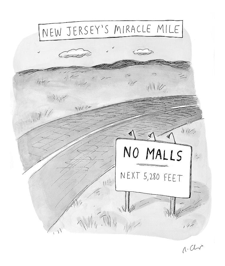 New Jerseys Miracle Mile Drawing by Roz Chast