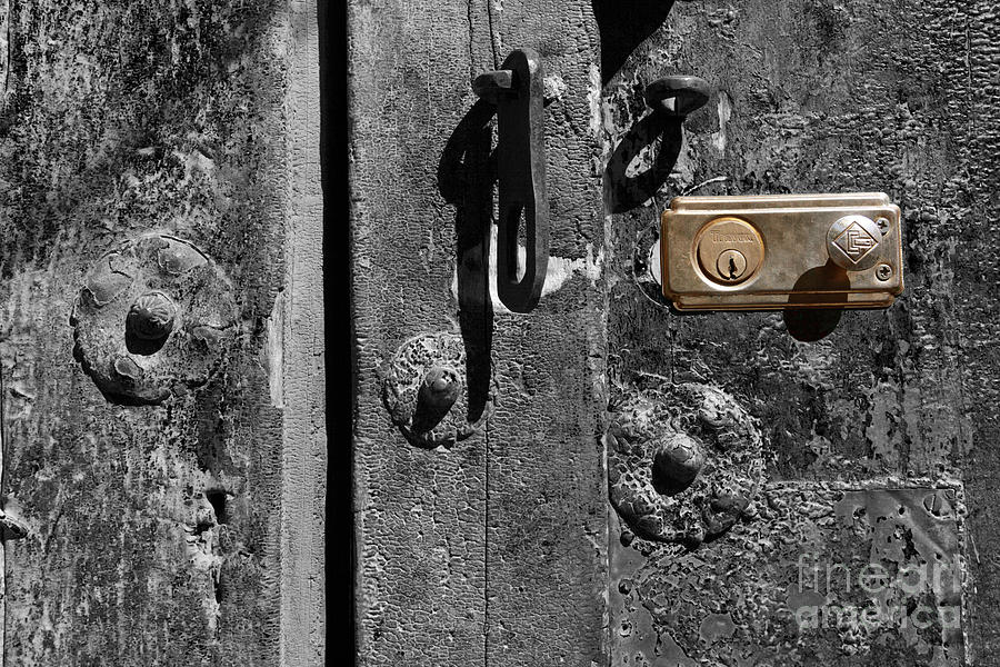 Still Life Photograph - New Lock On Old Door 2 by James Brunker