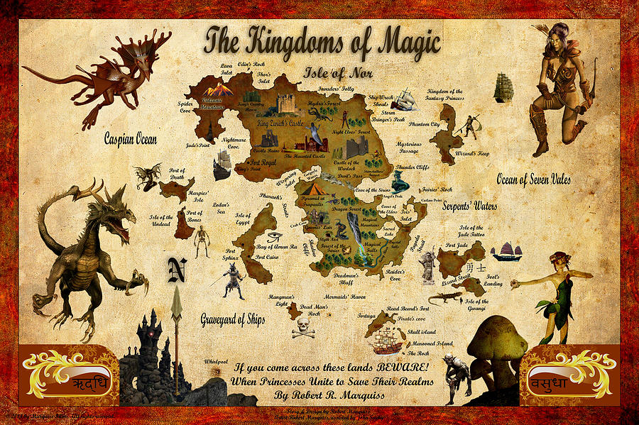 Magic Digital Art - New Map Of The Kingdoms Of Magic by Robert Marquiss