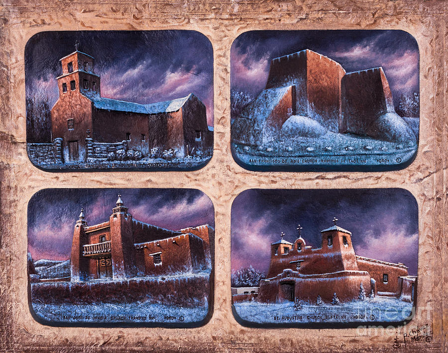 Churches Mixed Media - New Mexico Churches In Snow by Ricardo Chavez-Mendez