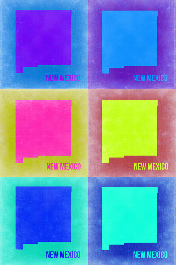 New Mexico Map Painting - New Mexico Pop Art Map 2 by Naxart Studio
