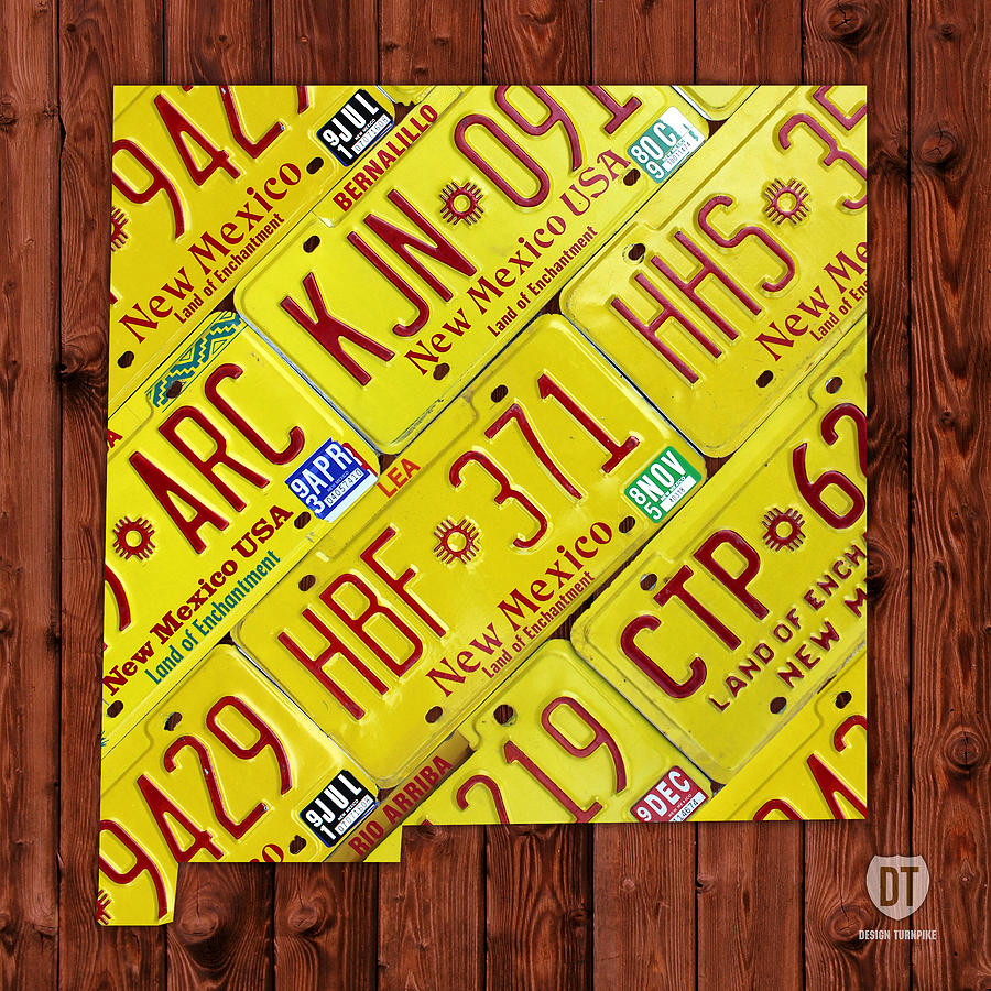 New Mexico Mixed Media - New Mexico State License Plate Map by Design Turnpike