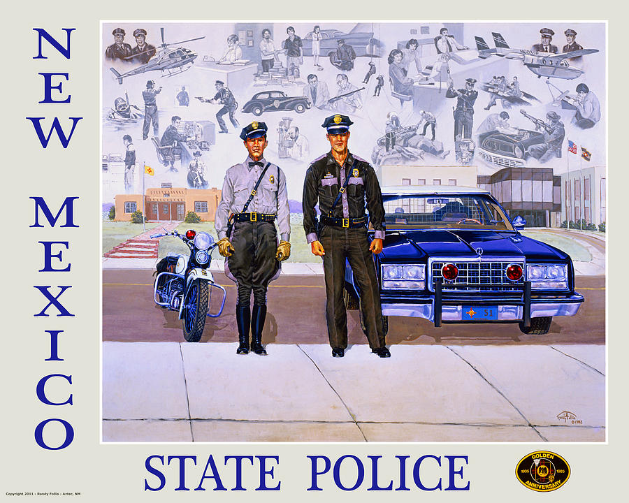 Poster Painting - New Mexico State Police Poster by Randy Follis