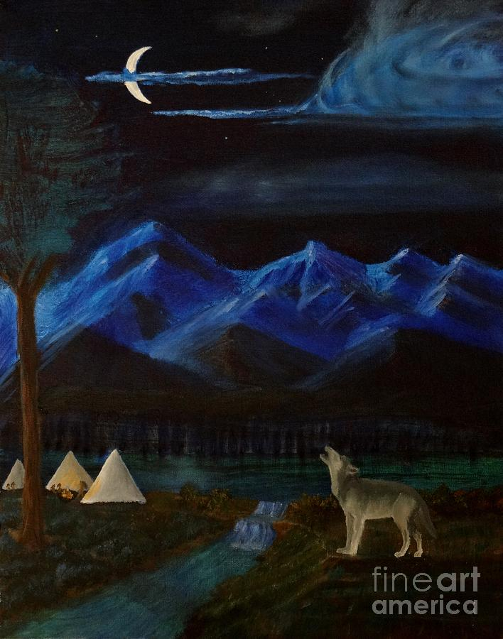 Wolf Painting - New Moon Howling by Stephen Schaps