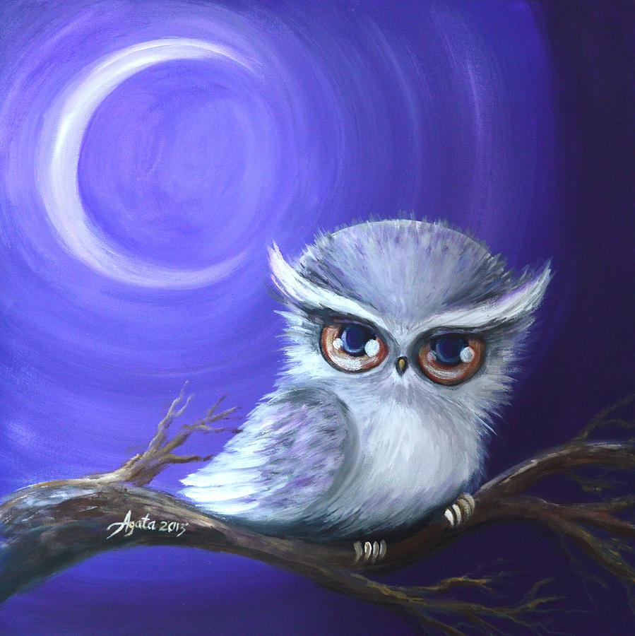New Moon Owl Painting by Agata Lindquist