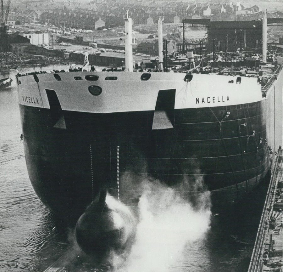 Retro Photograph - New Oil Tanker Launched by Retro Images Archive