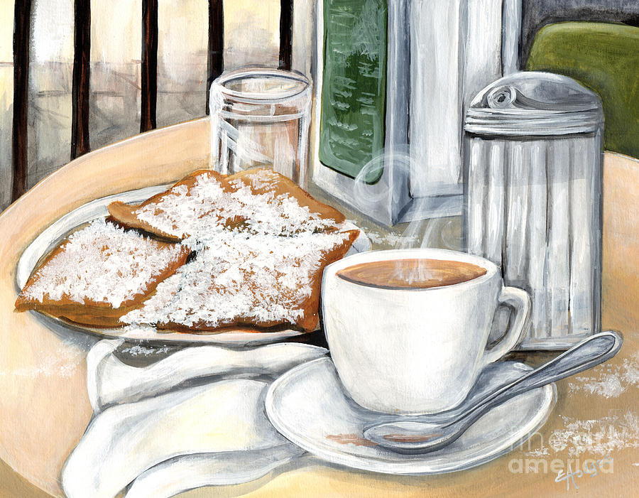 new orleans cafe du monde painting by elaine hodges. Black Bedroom Furniture Sets. Home Design Ideas