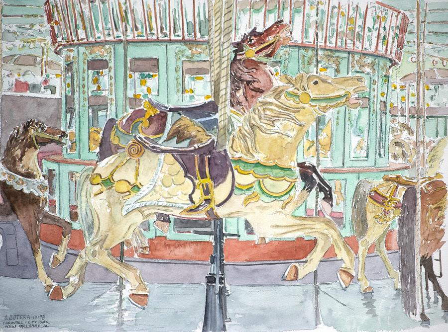 Merry-go-round Painting - New Orleans Carousel by Anthony Butera