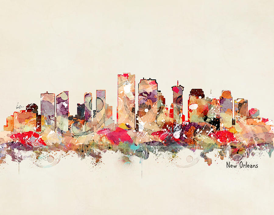 New Orleans Skyline Painting - New Orleans Louisiana by Bri Buckley
