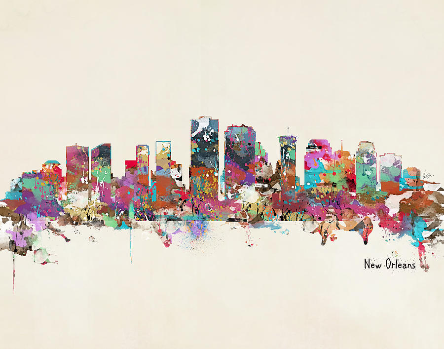 New Orleans Painting - New Orleans Louisiana Skyline by Bri Buckley