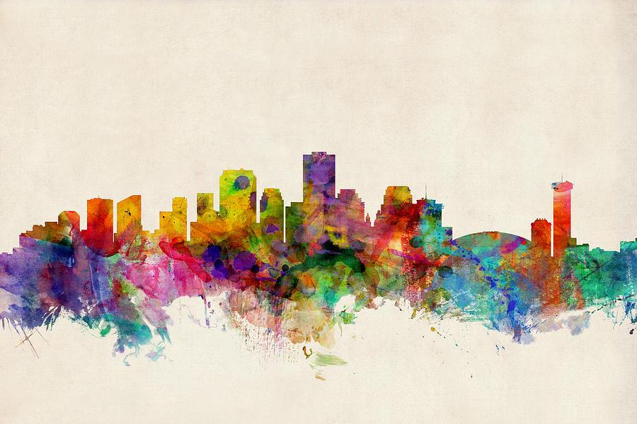 Watercolour Digital Art - New Orleans Louisiana Skyline by Michael Tompsett