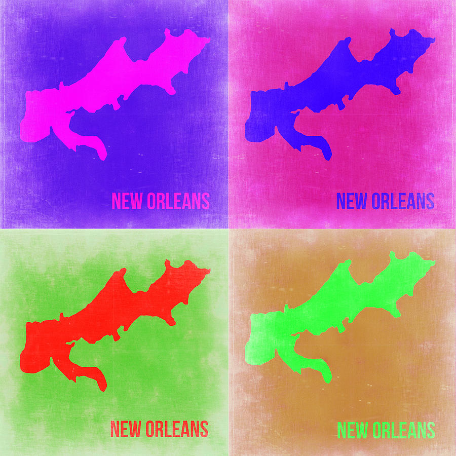 New Orleans Painting - New Orleans Pop Art Map 2 by Naxart Studio