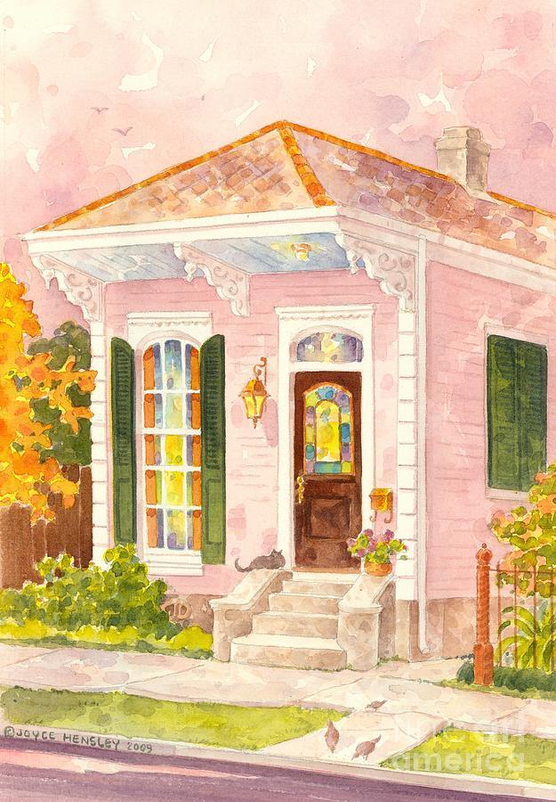 New Orleans Shotgun House In Pink Painting By Joyce Hensley