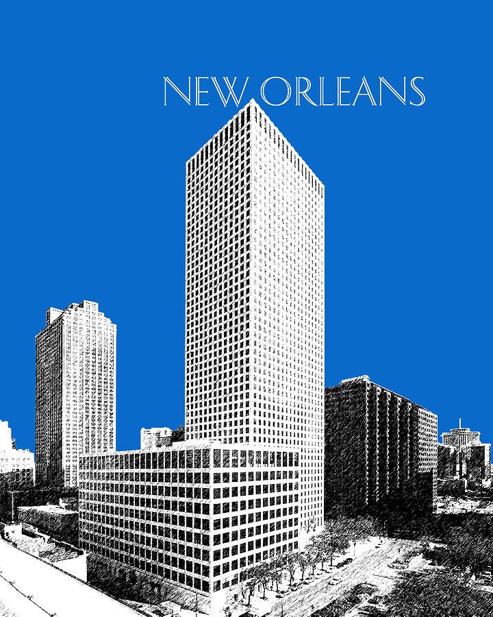 Architecture Digital Art - New Orleans Skyline - Blue by DB Artist