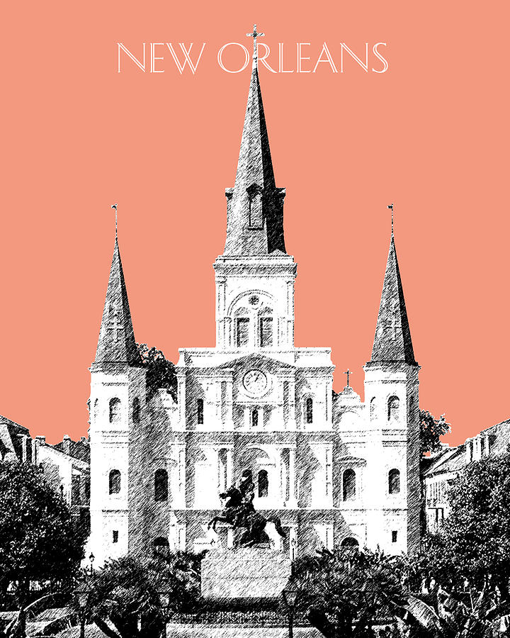 Architecture Digital Art - New Orleans Skyline Jackson Square - Salmon by DB Artist