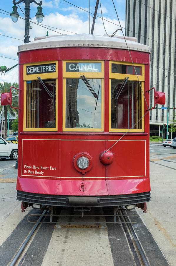 New Orleans Streetcar Heading Straight Photograph by Drnadig