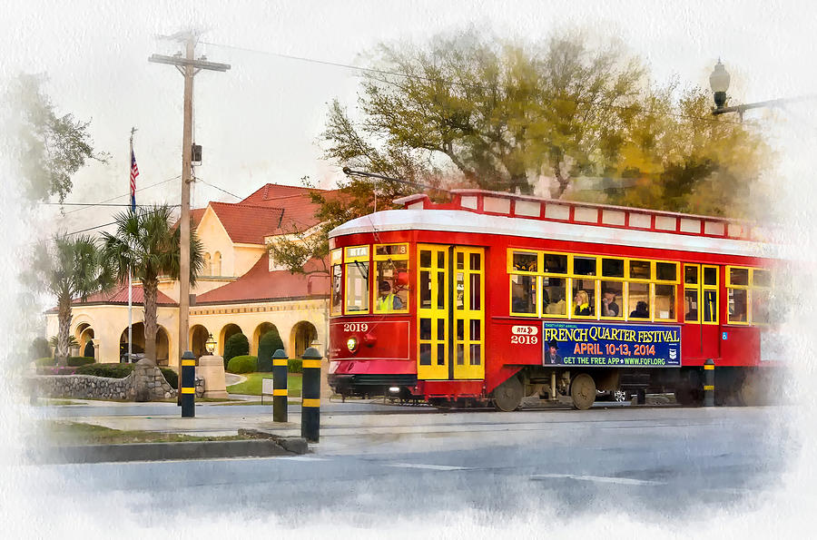 Canal Street Photograph - New Orleans Streetcar Paint by Steve Harrington