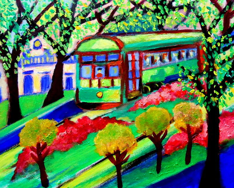 New Orleans Streetcar Painting by Ted Hebbler