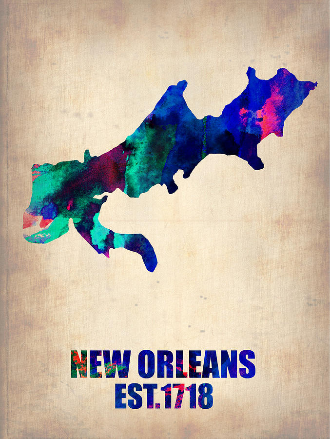 New Orleans Painting - New Orleans Watercolor Map by Naxart Studio