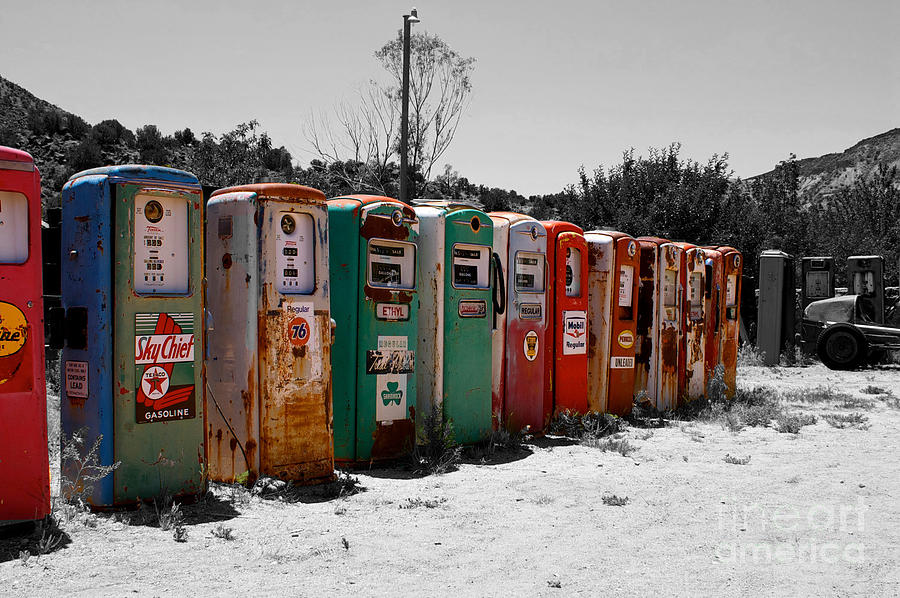 Line Of Many Vintage Gas Pumps by Toula Mavridou-Messer