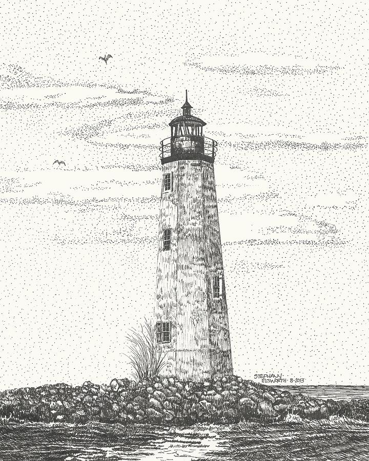 New Point Comfort Lighthouse II Drawing by Stephany Elsworth