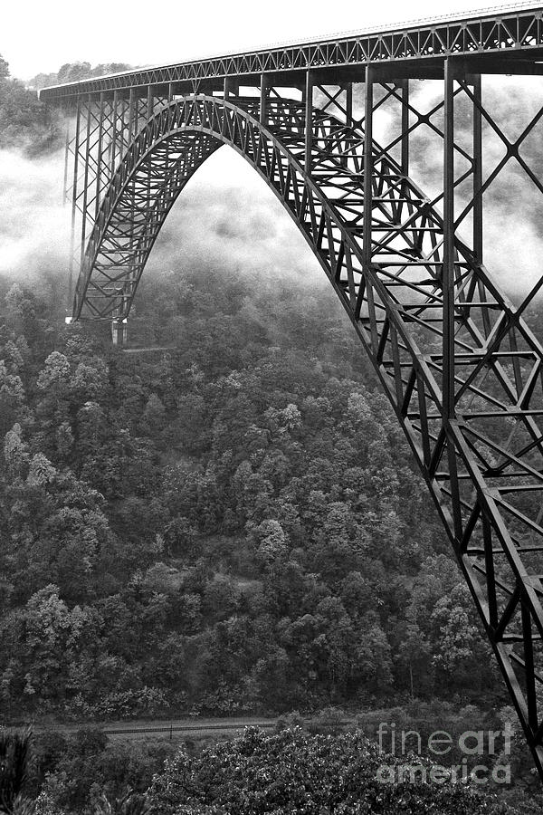 West virginia photograph new river gorge bridge black and white by thomas r fletcher