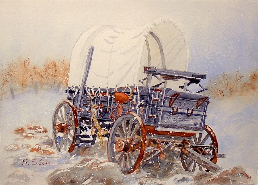 Watercolor Painting - New Snow  Old Wagon by Sandra Stone