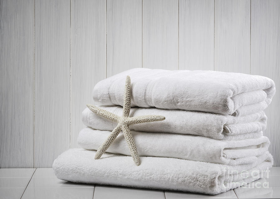 White Photograph - New White Towels by Amanda Elwell