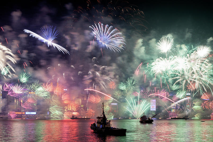 New Year Fireworks Hong Kong Asia Photograph by Steffen Schnur