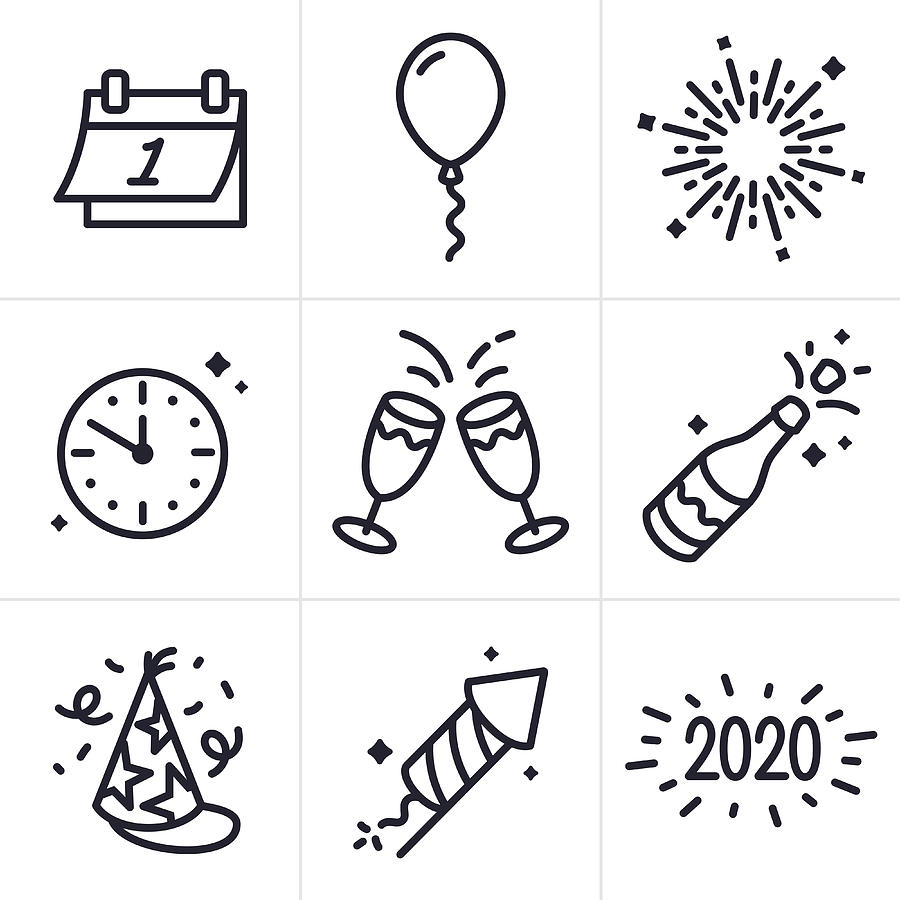 New Years Celebration Line Icons and Symbols Drawing by Filo