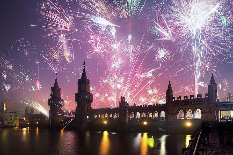 New Years Eve At Oberbaum Bridge Photograph by Spreephoto.de