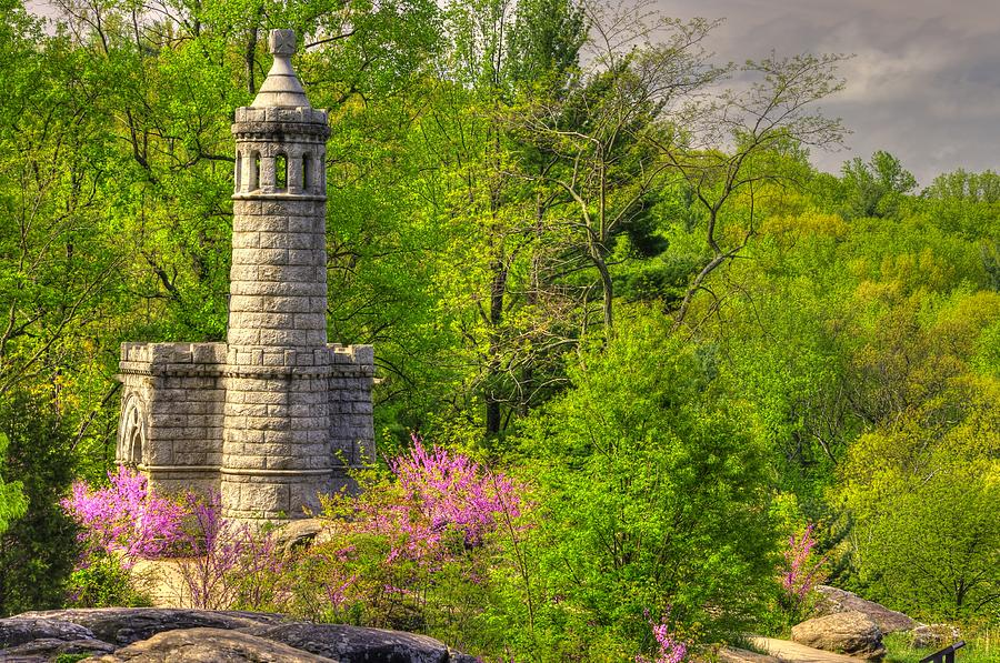 Civil War Photograph - New York At Gettysburg - Monument To 12th / 44th Ny Infantry Regiments-1a Little Round Top Spring by Michael Mazaika