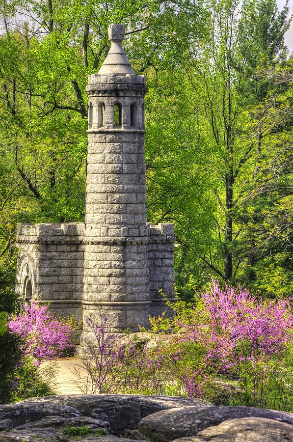 Civil War Photograph - New York At Gettysburg - Monument To 12th / 44th Ny Infantry Regiments-2a Little Round Top Spring by Michael Mazaika