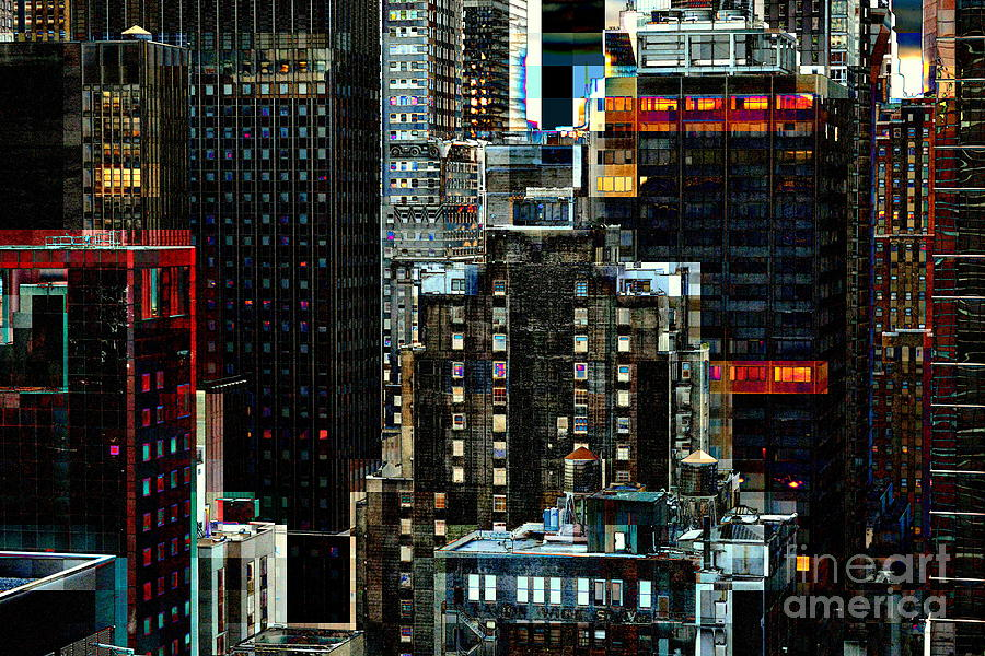 Urban Photograph - New York At Night - Skyscrapers And Office Windows by Miriam Danar