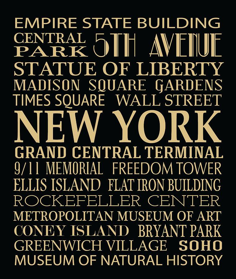 New York Digital Art - New York Attractions by Jaime Friedman