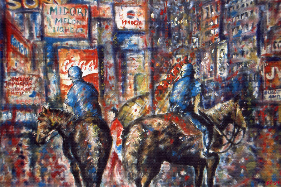 New York Broadway at Night - Oil On Canvas Painting by Peter Potter
