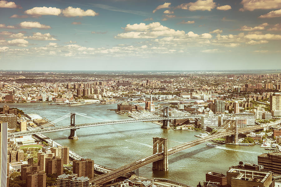 Nyc Photograph - New York City - Brooklyn Bridge and Manhattan Bridge from Above by Vivienne Gucwa